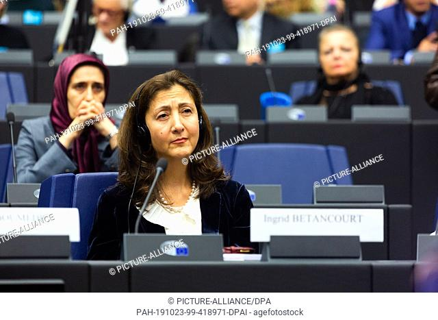 23 October 2019, France (France), Straßburg: Ingrid Betancourt, former presidential candidate of Colombia, is listening to a speech during a meeting of the...
