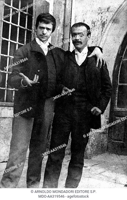 Italo Svevo together with Umberto Veruda. Italian writer and dramatist Italo Svevo posing together with Umberto Veruda, painter and close friend