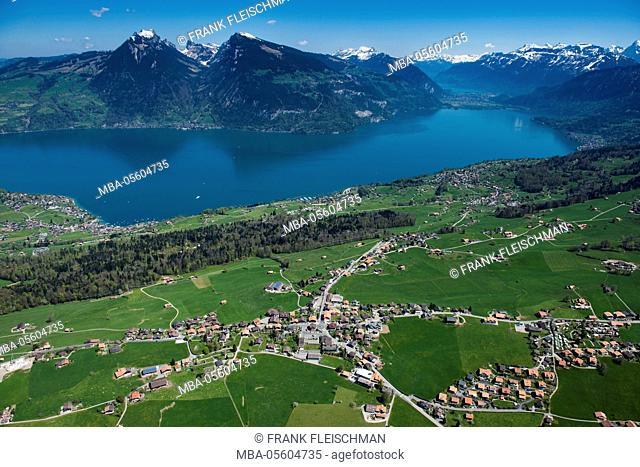 Thunersee, Aeschi at Spiez, Krattigen, aerial picture, bath bay, Swiss alps, the Bernese Oberland, Switzerland
