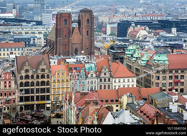 Aerial view from Garrison Church in Old Town of Wroclaw, Poland - view with Saint Mary Magdalene Church and Market Square