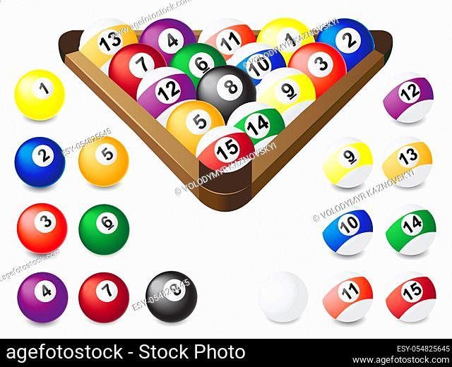 balls for billiards vector illustration