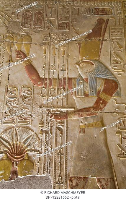 Bas-relief of the god Horus, Temple of Seti I; Abydos, Egypt