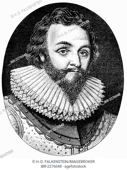 Historical drawing from the U.S. history of the 18th century, portrait of Sir Francis Drake, circa 1540 - 1596, an English sailor, pirate, explorer