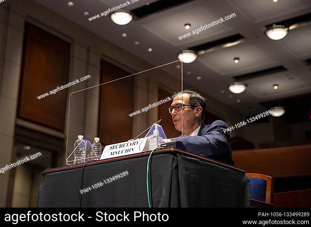 U.S. Secretary of the Treasury Steven Mnuchin testifies before the House Financial Services Committee on Capitol Hill on June 30, 2020 in Washington, DC