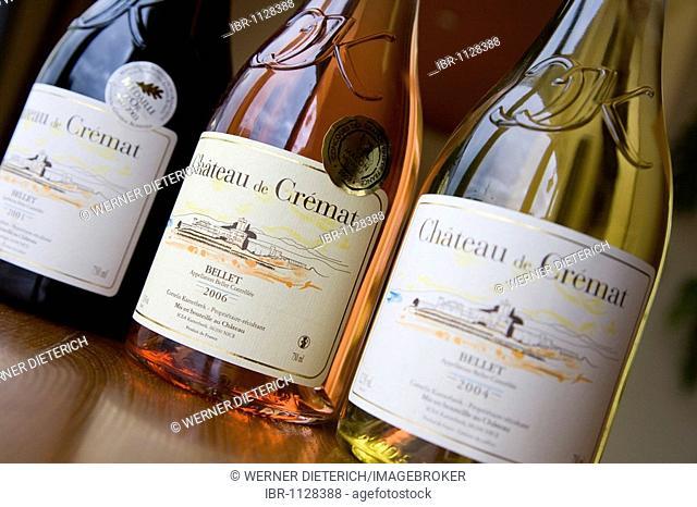 Chateau de Crémat wine bottles, sale, near St. Roman de Bellet, Nice, Cote d'Azur, France