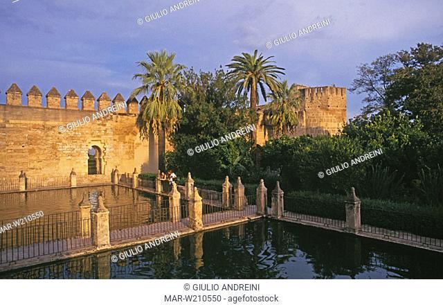 europe, spain, andalucia, cordoba, alcazar de los reyes cristianos, the garden