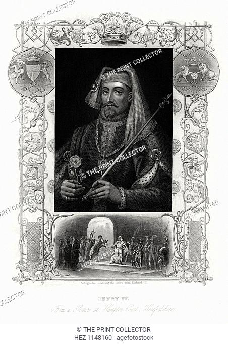 Henry IV of England, 1860. Portrait of the king (1367-1413) holding a sceptre and Tudor rose, and below, a scene from the play Henry IV by Shakespeare