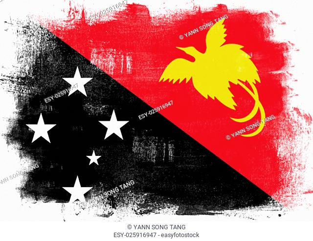 Flag of Papua New Guinea painted with brush on solid background