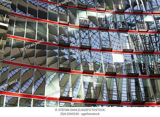 Modern Facade in the Sony Center at the Potsdam Square in Berlin, Germany