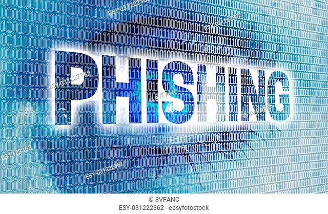 Phishing eye with matrix looks at viewer concept