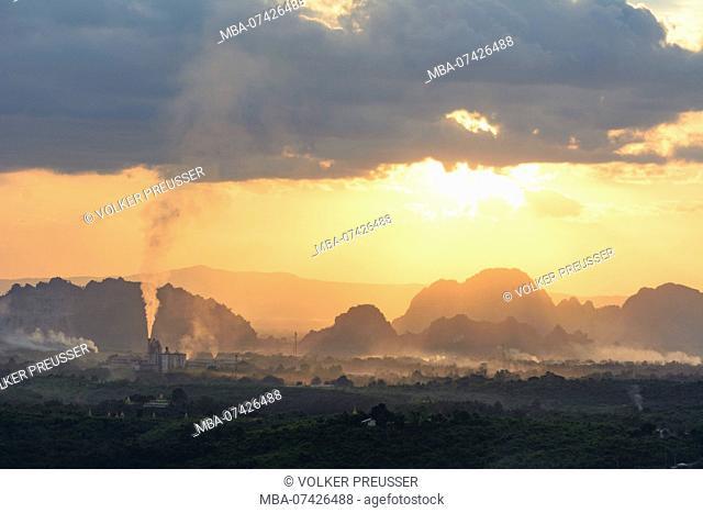Hpa-An, Rhino Cement factory, limestone mountains, Kayin (Karen) State, Myanmar (Burma)