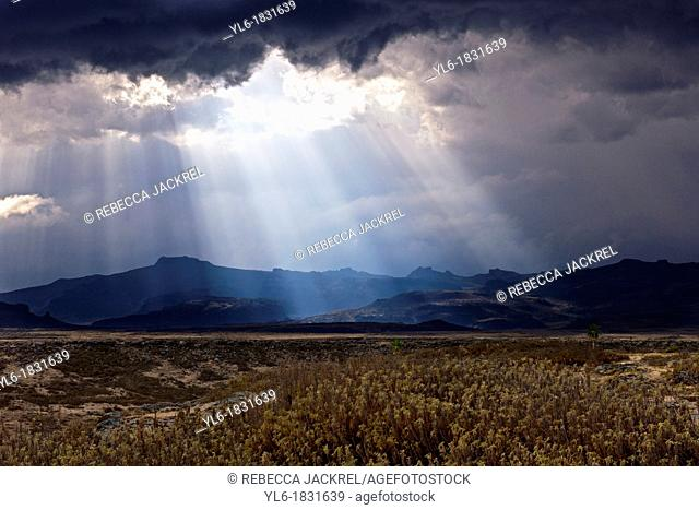 Crepuscular rays shine through clouds in the Web Valley of Bale Mountains National Park, Ethiopia