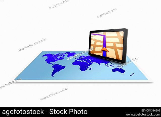 Touchpad gps with world map
