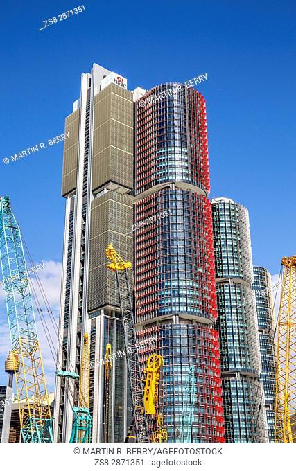 Barangaroo in Sydney city centre with high rise skyscraper towers, Sydney, Australia