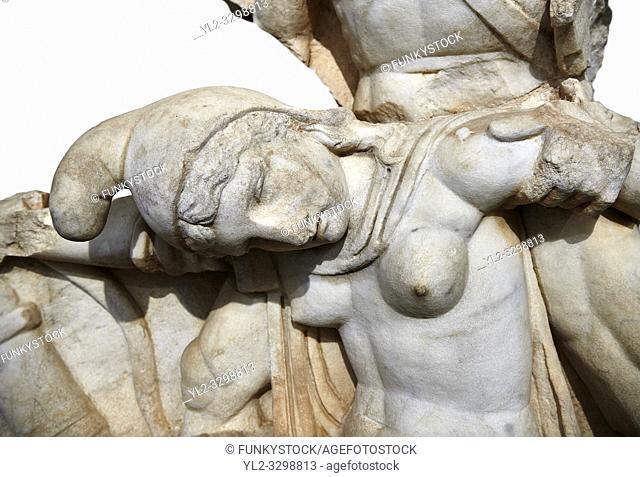 Close up of Roman Sebasteion relief sculpture of Nero conquering Armenia depicting a fallen female representing Armenia, Aphrodisias Museum, Aphrodisias, Turkey