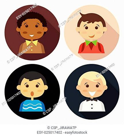 Cartoon boy four people