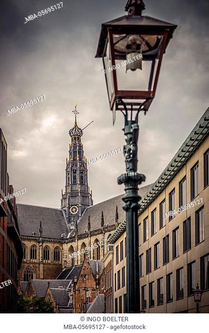 The Netherlands, Haarlem, city centre, market, church, St. Bavo