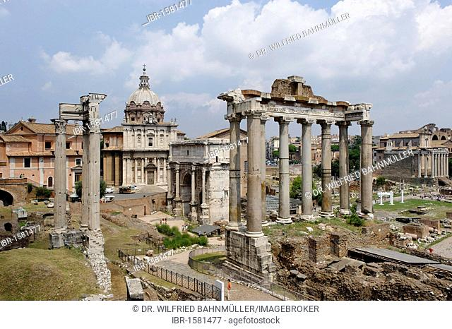Forum Romanum, with tempel of Saturn and S. Luca e Martina church, Rome, Italy, Europe