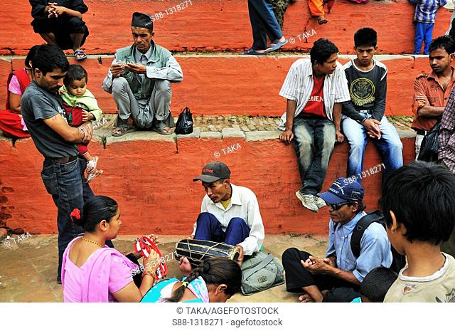 On the day of Indra Jatra festival in Durbar Square, Kathmandu Nepal