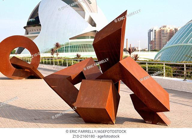 Modern art works at City of the Arts and the Sciences Valencia Spain
