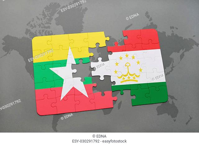 puzzle with the national flag of myanmar and tajikistan on a world map background. 3D illustration
