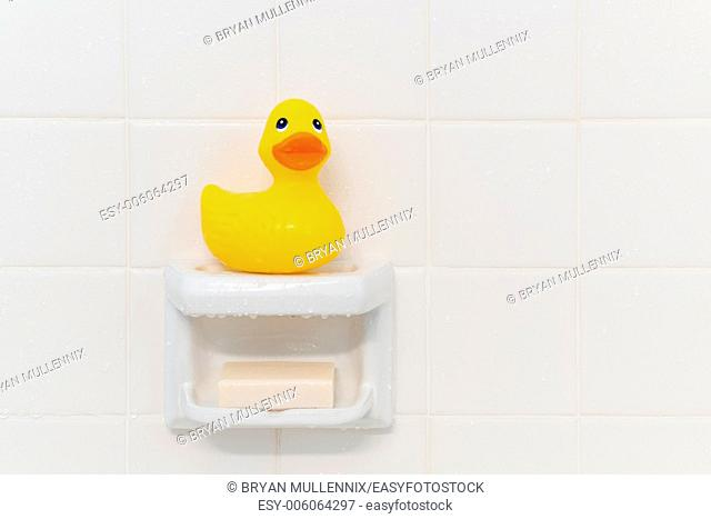 Yellow rubber duck sitting on a soap dish in a shower