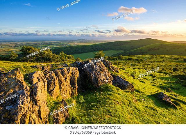Wavering Down with Crook Peak beyond in the Mendip Hills. Somerset. England