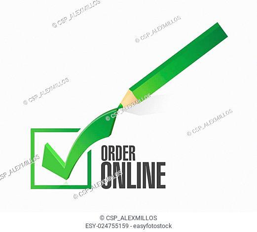Order online check mark sign concept