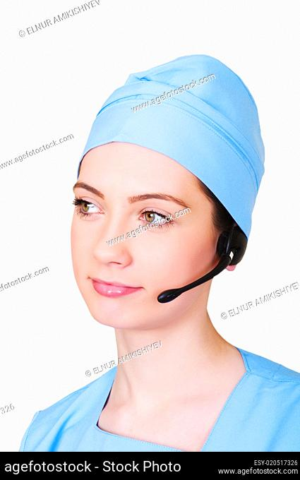 Medical call center concept - girl with headphone isolated on wh
