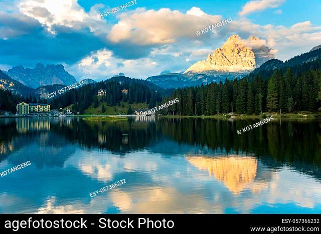 Sunset summer view of Misurina lake. National Park Tre Cime di Lavaredo, Location Auronzo, Misurina resort, Dolomiti Alps, South Tyrol, Italy, Europe