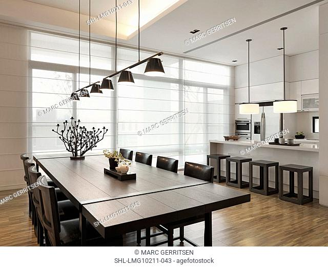 Dining room and kitchen in modern home