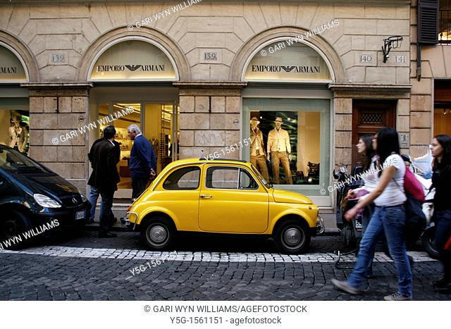 fiat 500 car and armani shop in rome