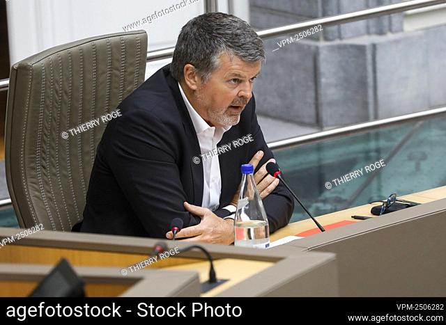 Flemish Minister of Domestic Policy and Living Together Bart Somers pictured during a plenary session of the Flemish Parliament in Brussels
