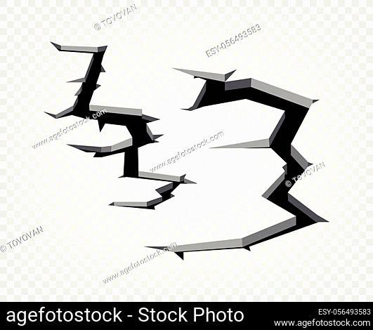 Hole on transparent background. Broken ground concept. Vector illustration