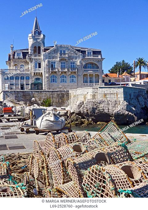 Pier with fishing tools in front of Palacio Seixas, seaside resort Cascais, Region Lisbon, Portugal, Europe