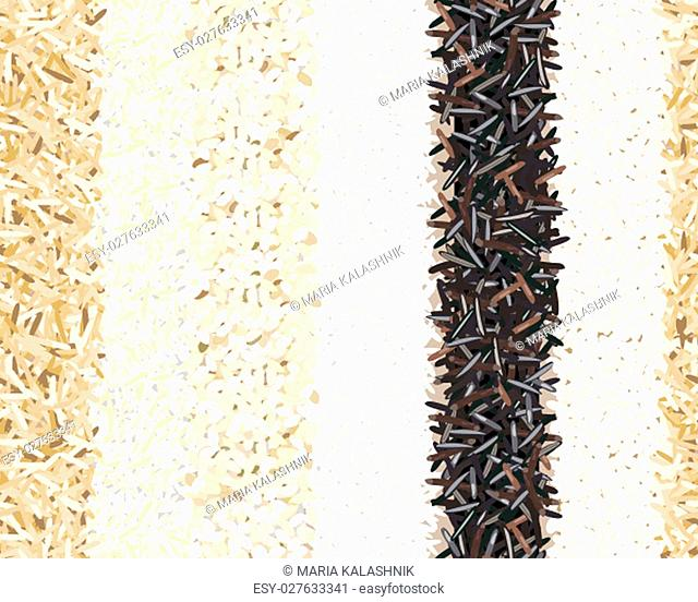 Different types of rice seamless pattern. Basmati, wild, jasmine, long brown, arborio, sushi. Six Stripes. for poster, cooking, culinary, prints, textile
