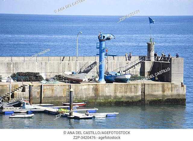 Tazones Asturias Spain on September 7, 2019: A view of fishing harbor at the village of Tazones in Asturias one of the most beautiful villages in Spain