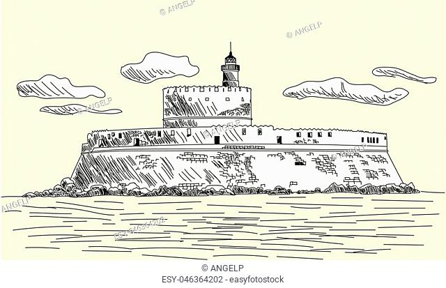 Rhodes ancient fort. EPS 10 vector sketch illustration without transparency and meshes