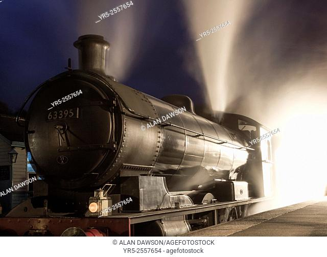 Steam train at Grosmont station on The North Yorkshire Moors Railway. North Yorkshire, England, United Kingdom