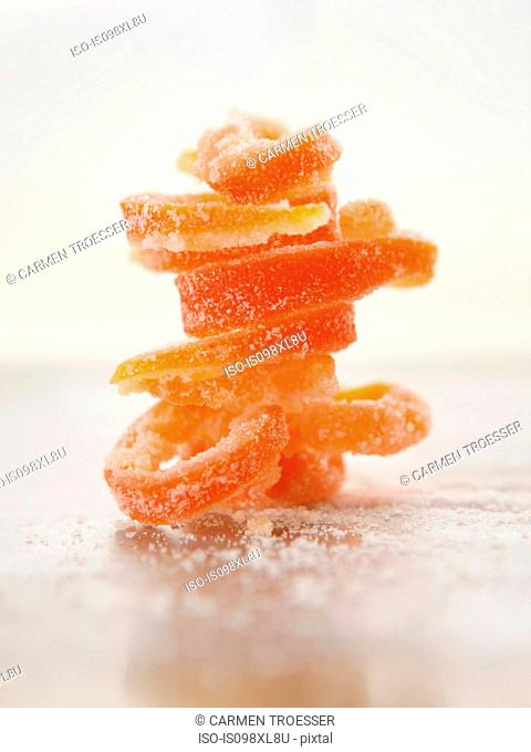 Stack of grapefruit rind