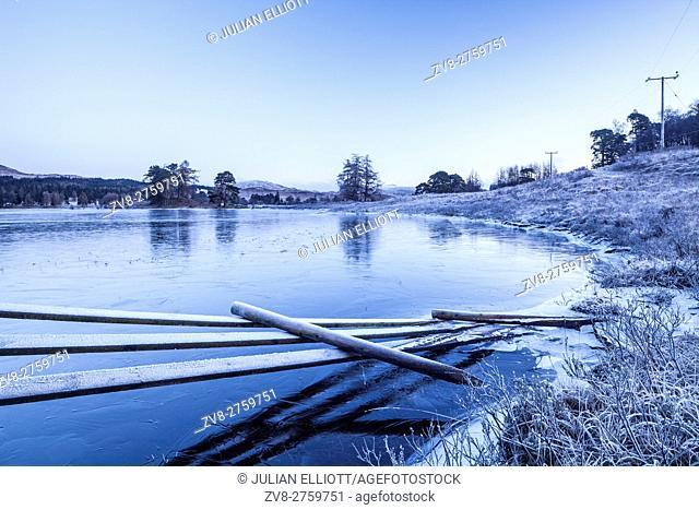 A frozen Loch Tulla in the Highlands of Scotland