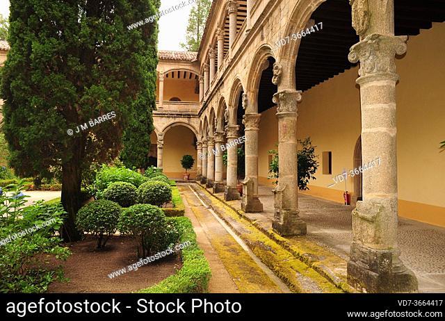 Yuste Monastery (15-16th centuries), renaissance cloister. Cuacos de Yuste, Caceres province, Extremadura, Spain