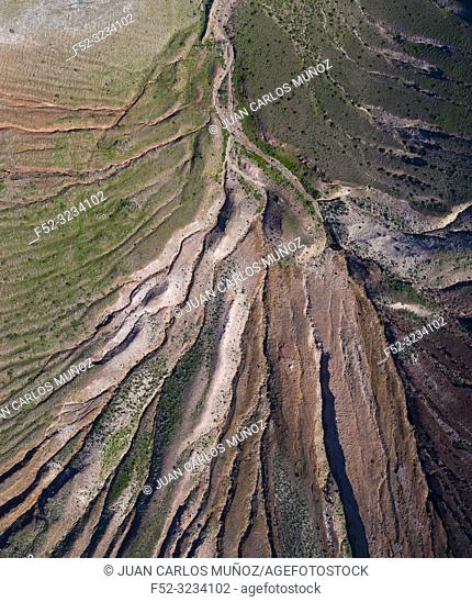 Eroded landscape, Volcan Montaña de Soo, Soo, Lanzarote Island, Canary Islands, Spain, Europe