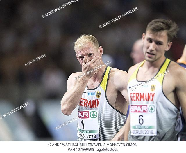 Winner Arthur ABELE (1st place / Germany) with tears after the competition, cries. Decathlon 1500m, on 08.08.2018 European Athletics Championships 2018 in...