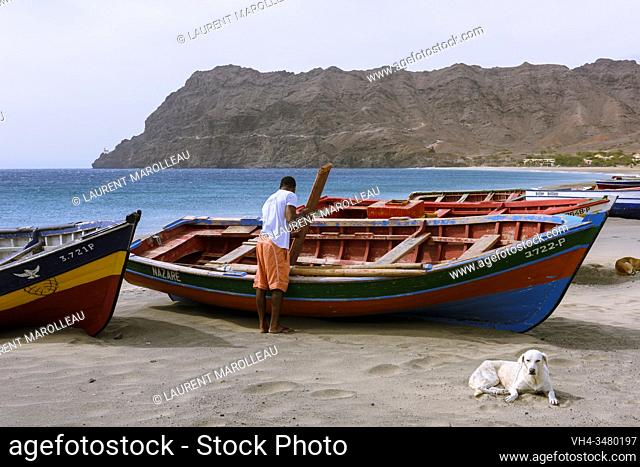 Boats on the Beach of Sao Pedro Village, Sao Vicente, Cape Verde Islands, Africa