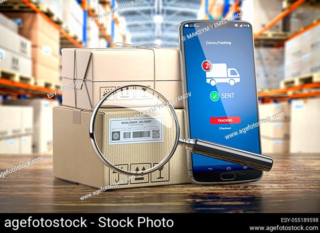 Smartphone with cardboard boxes and loupe. Logistics, delivery and online order tracking concept. 3d illustration
