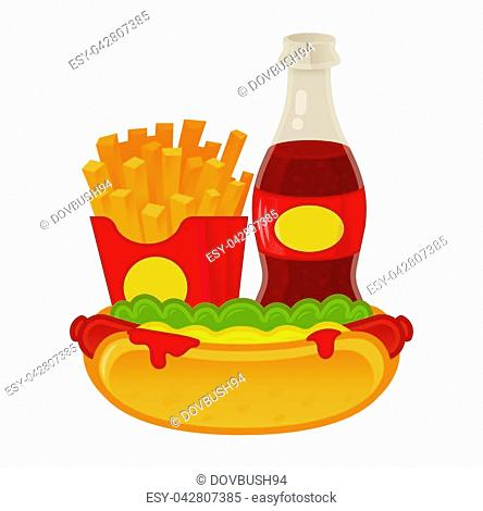 Good set of tasty street food. American classical hot-dog, french fries in red box, fresh sparkling drink. Menu for cafe bar fast food