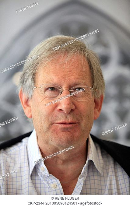 Famous British conductor sir John Eliot Gardiner answers questions at a press conference ahead of his evening concert with English Baroque Solists orchestra and...