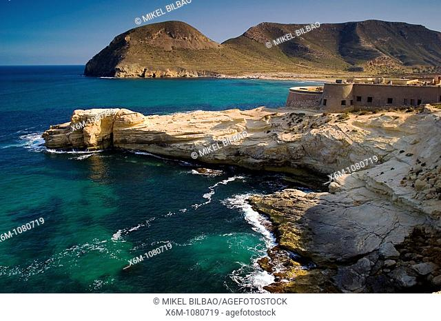 San Ramos Castle and cliffs near El Playazo  Cabo de Gata Natural Park, Almeria, Andalusia, Spain, Europe