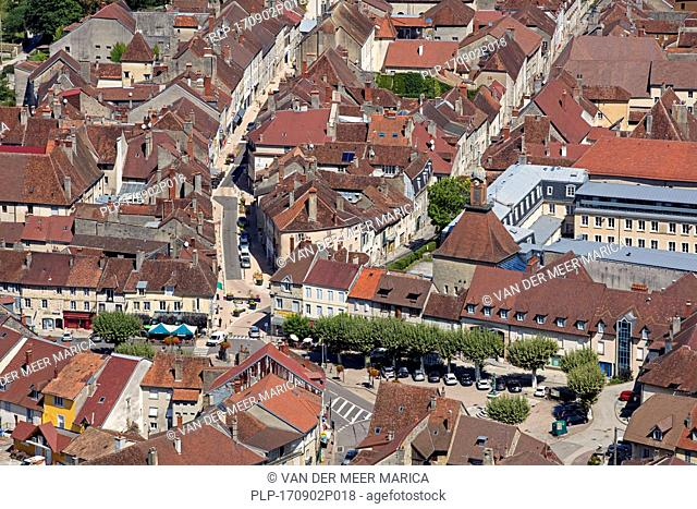 Bird's eye view over the town Poligny, commune in the Jura department in Franche-Comté, Lons-le-Saunier, France